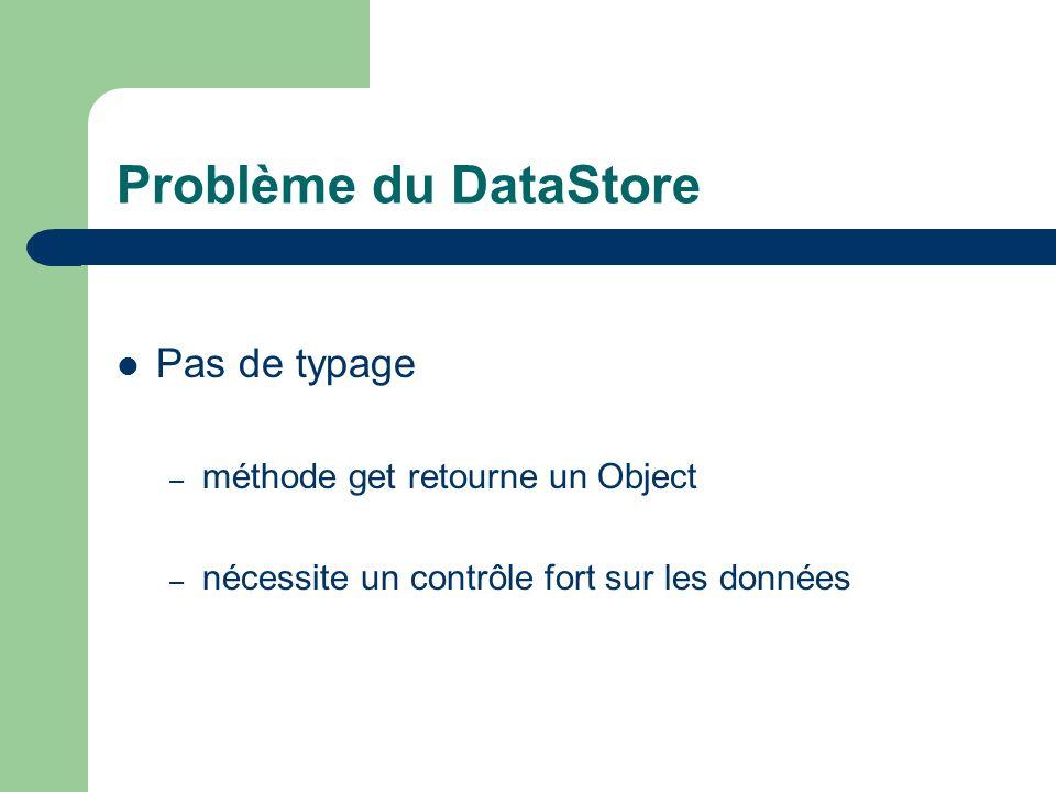 Problème du DataStore Pas de typage méthode get retourne un Object