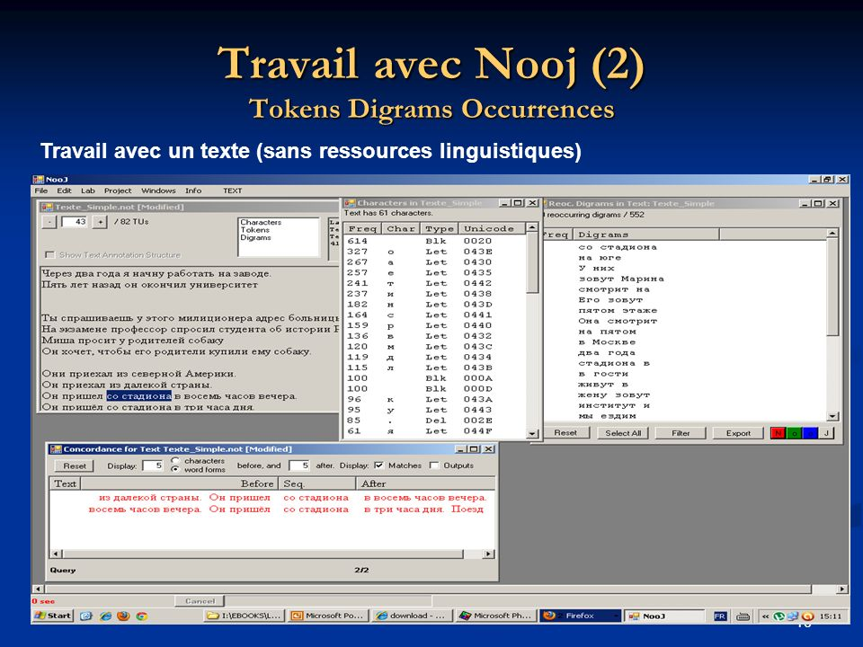 Travail avec Nooj (2) Tokens Digrams Occurrences