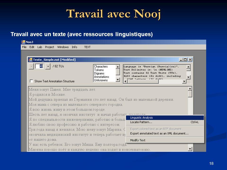 Travail avec Nooj Travail avec un texte (avec ressources linguistiques)