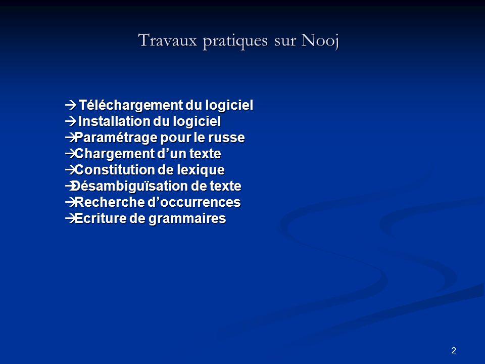 Travaux pratiques sur Nooj