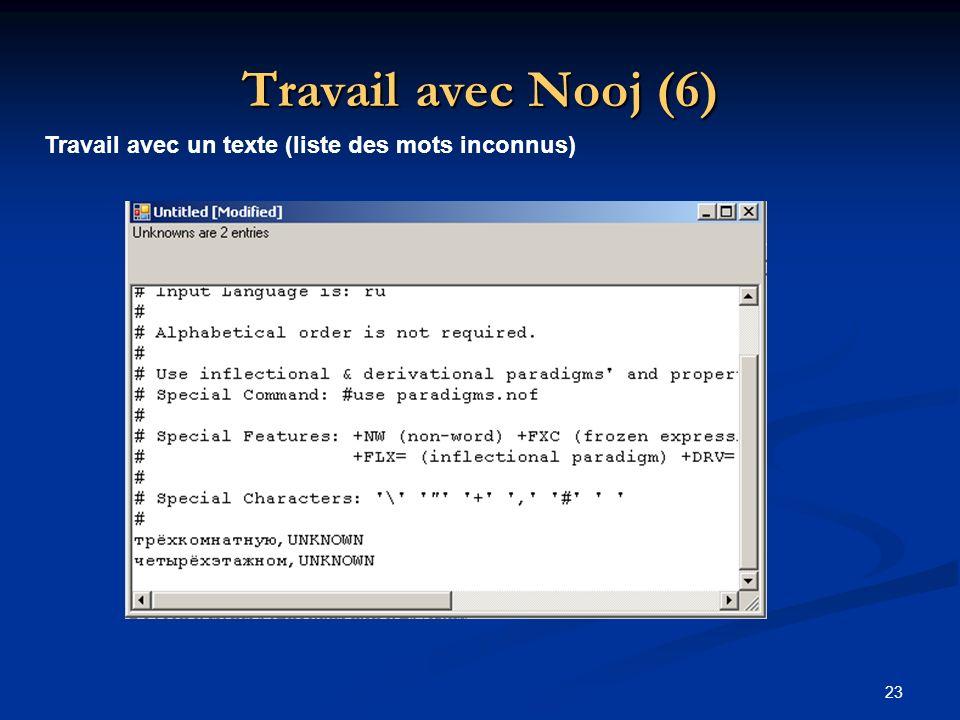 Travail avec Nooj (6) Travail avec un texte (liste des mots inconnus)
