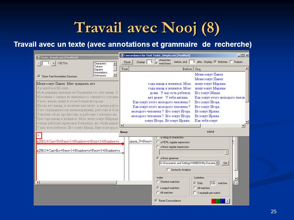 Travail avec Nooj (8) Travail avec un texte (avec annotations et grammaire de recherche)