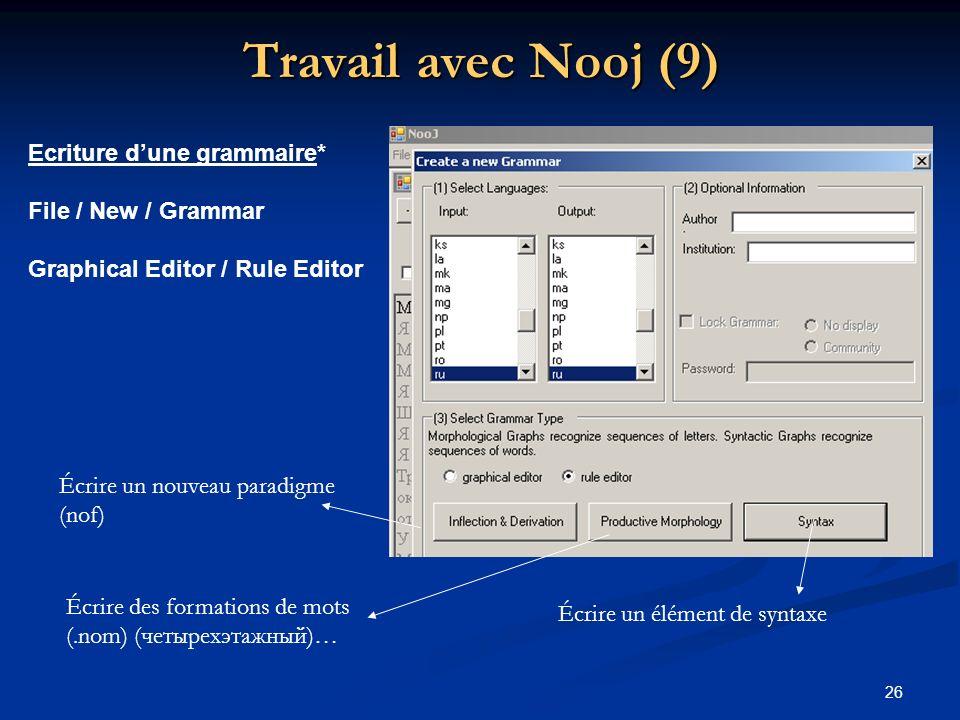 Travail avec Nooj (9) Ecriture d'une grammaire* File / New / Grammar