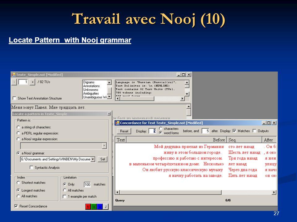 Travail avec Nooj (10) Locate Pattern with Nooj grammar