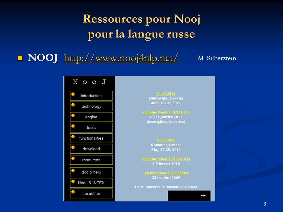 Ressources pour Nooj pour la langue russe