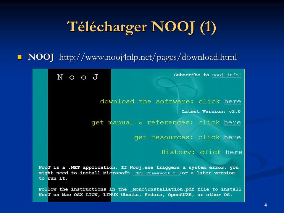 Télécharger NOOJ (1) NOOJ http://www.nooj4nlp.net/pages/download.html