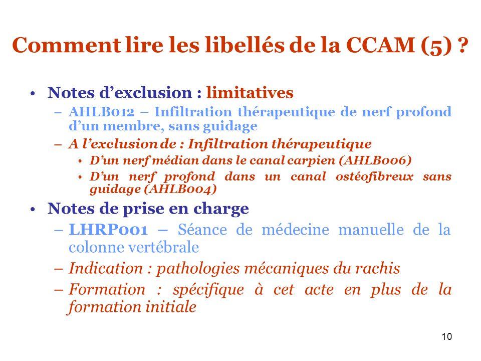 Comment lire les libellés de la CCAM (5)