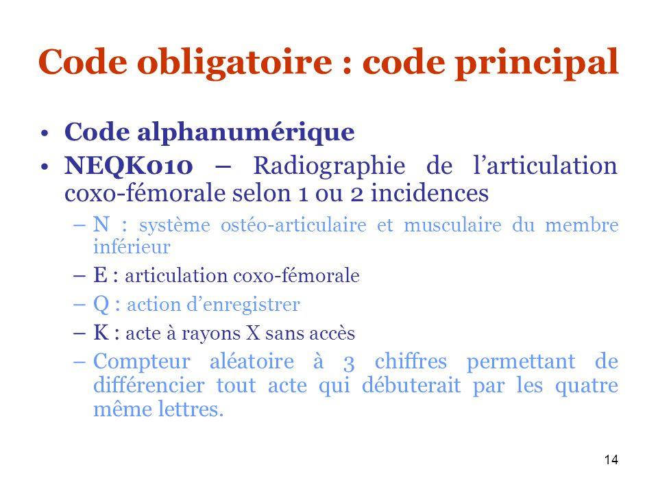 Code obligatoire : code principal