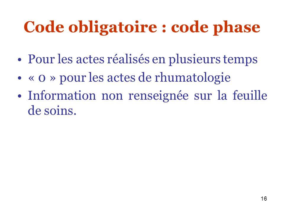 Code obligatoire : code phase