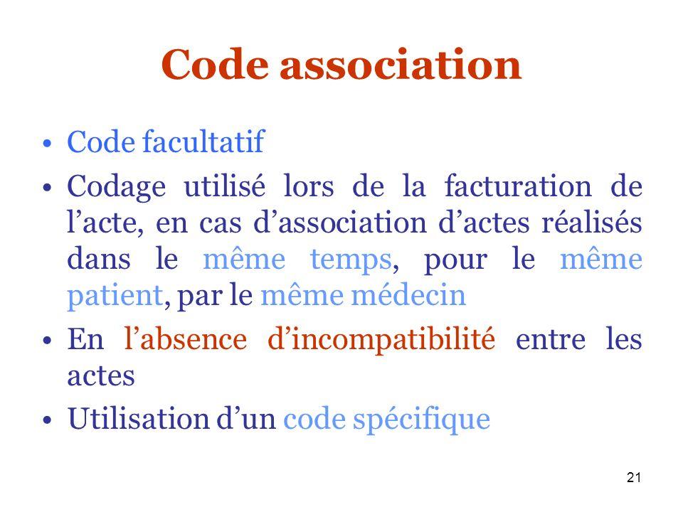 Code association Code facultatif