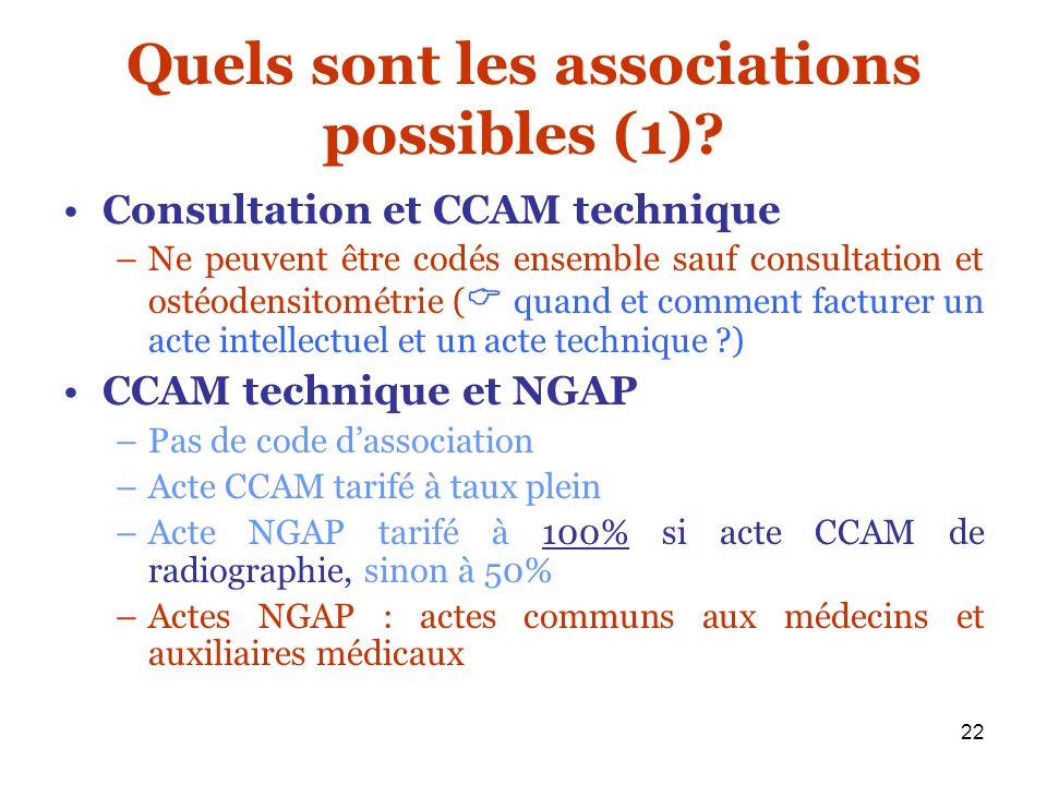 Quels sont les associations possibles (1)