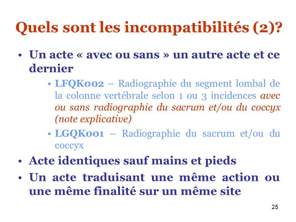 Quels sont les incompatibilités (2)