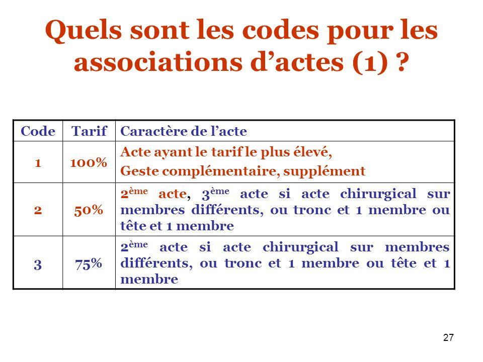 Quels sont les codes pour les associations d'actes (1)