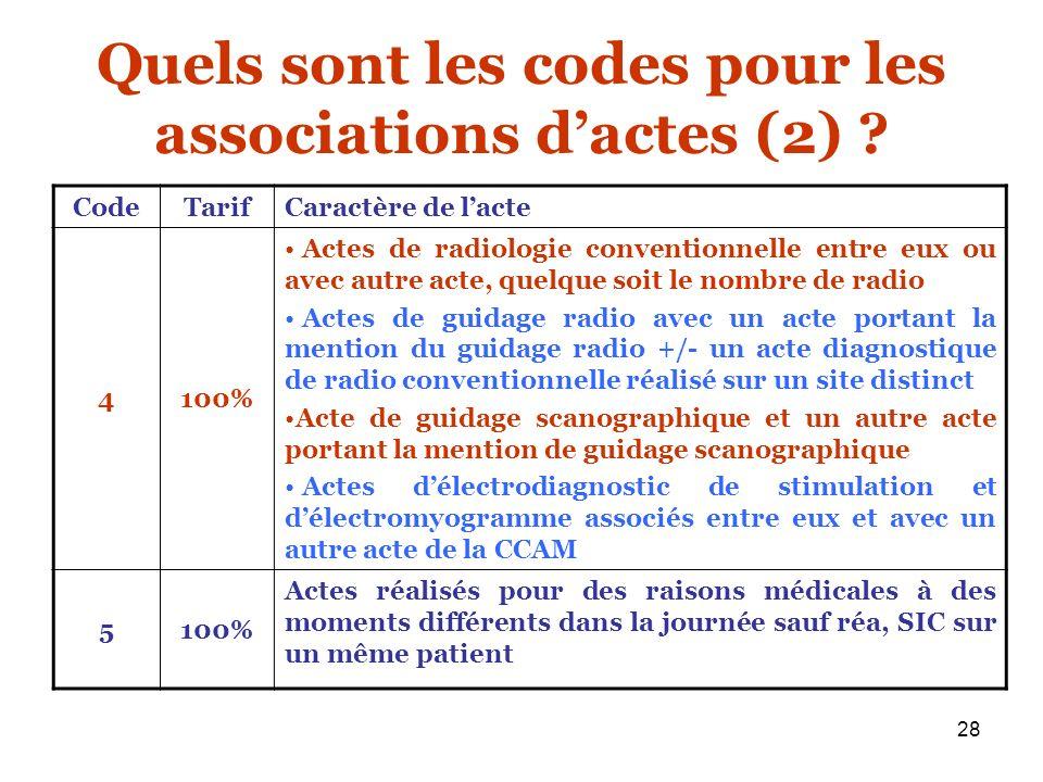 Quels sont les codes pour les associations d'actes (2)