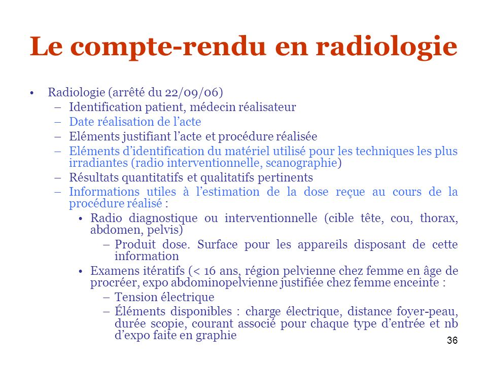 Le compte-rendu en radiologie