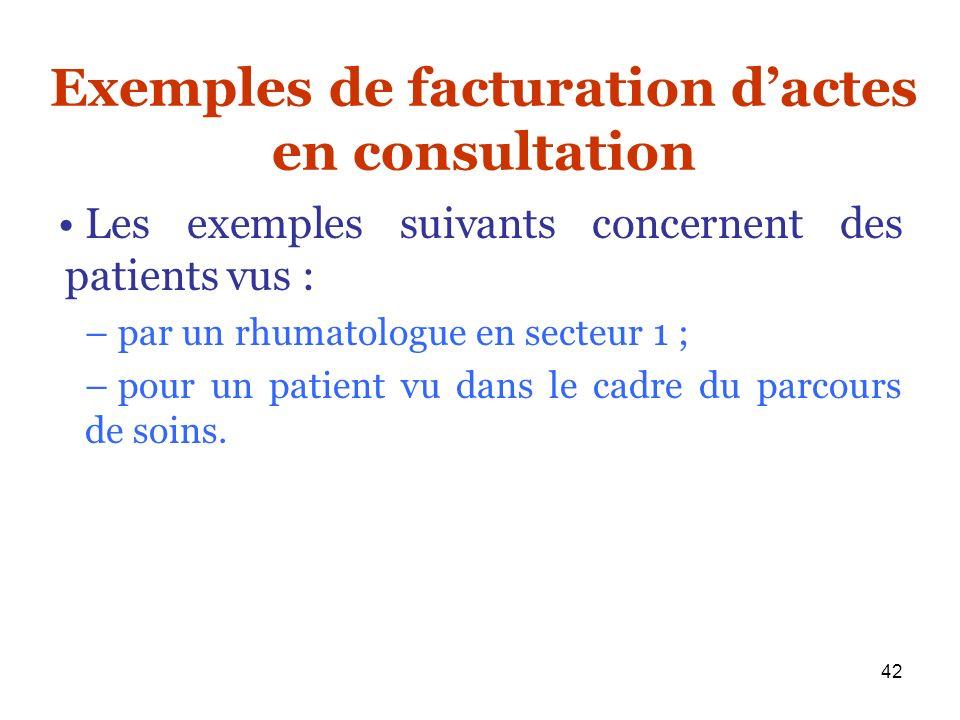 Exemples de facturation d'actes en consultation