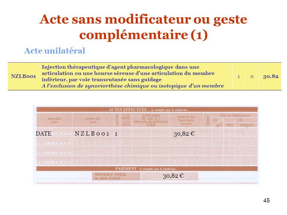 Acte sans modificateur ou geste complémentaire (1)