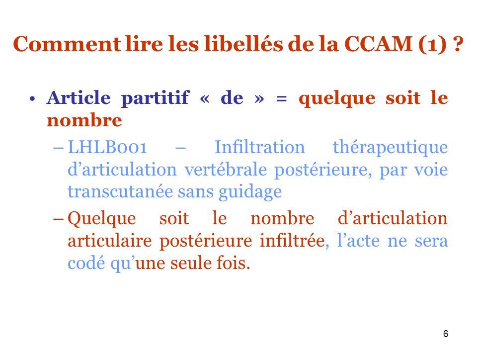 Comment lire les libellés de la CCAM (1)