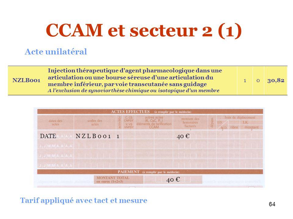 CCAM et secteur 2 (1) Acte unilatéral