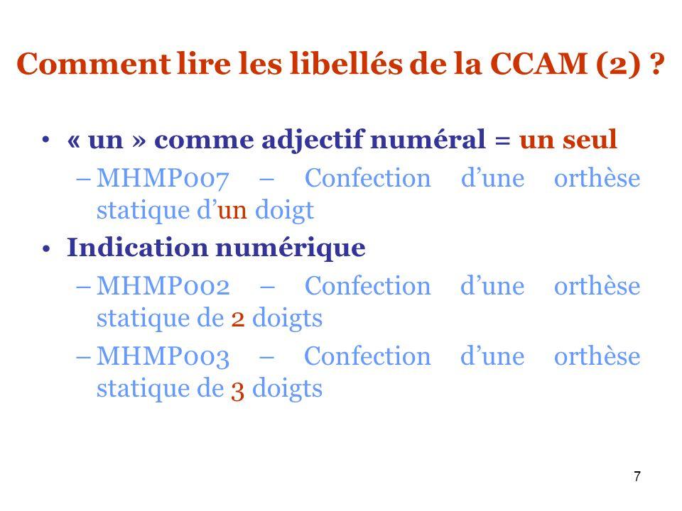 Comment lire les libellés de la CCAM (2)
