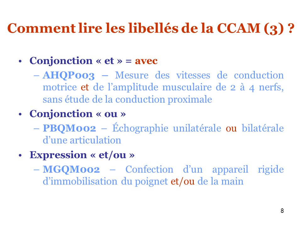 Comment lire les libellés de la CCAM (3)