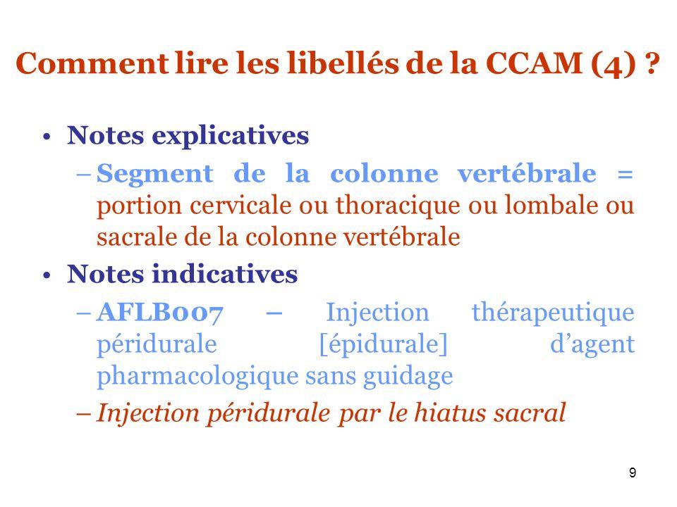 Comment lire les libellés de la CCAM (4)