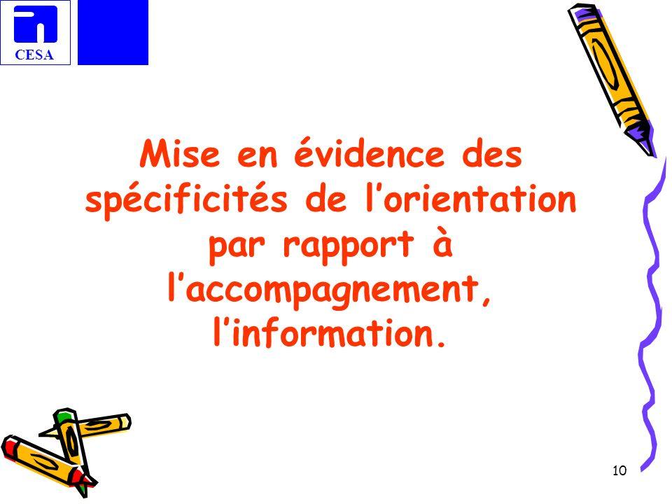 Mise en évidence des spécificités de l'orientation par rapport à l'accompagnement, l'information.