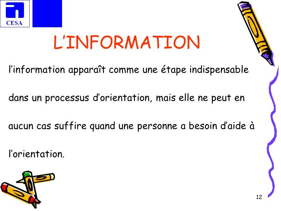 L'INFORMATION l'information apparaît comme une étape indispensable