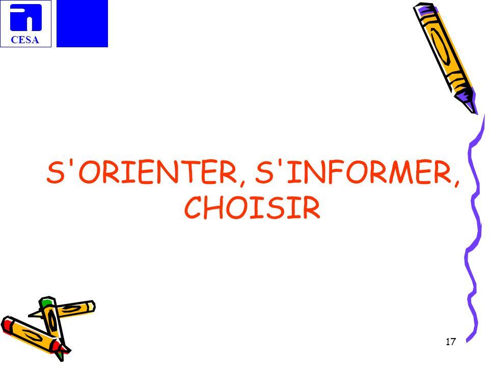 S ORIENTER, S INFORMER, CHOISIR