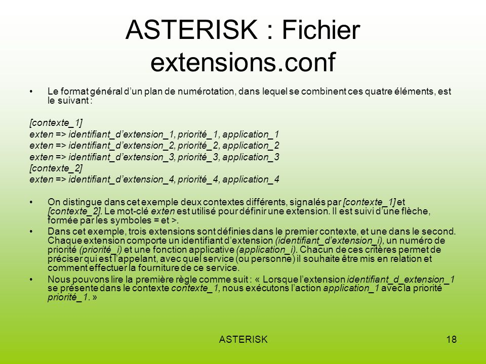 ASTERISK : Fichier extensions.conf