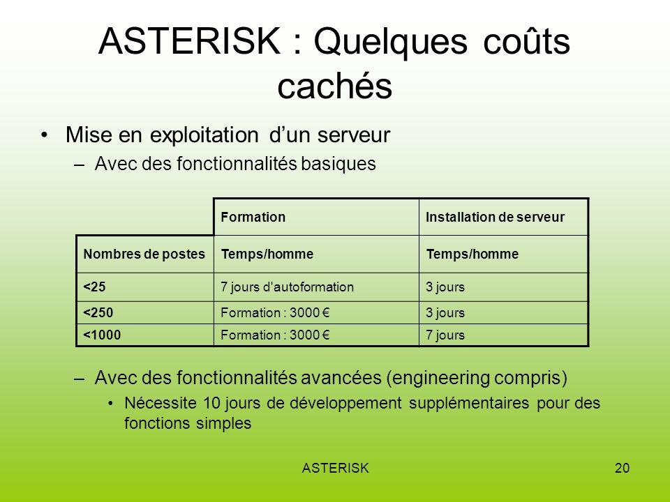 ASTERISK : Quelques coûts cachés