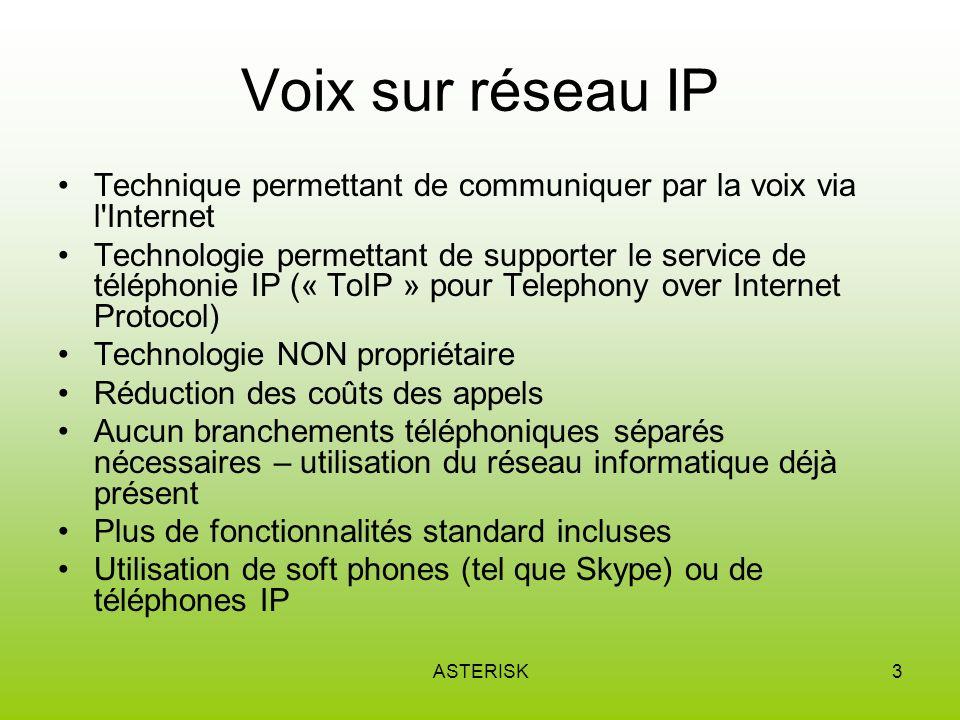 Voix sur réseau IP Technique permettant de communiquer par la voix via l Internet.