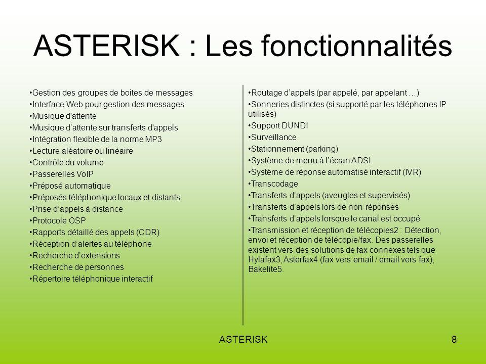 ASTERISK : Les fonctionnalités