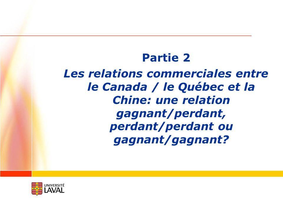 Partie 2 Les relations commerciales entre le Canada / le Québec et la Chine: une relation gagnant/perdant, perdant/perdant ou gagnant/gagnant