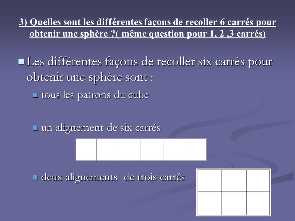 3) Quelles sont les différentes façons de recoller 6 carrés pour obtenir une sphère ( même question pour 1, 2 ,3 carrés)