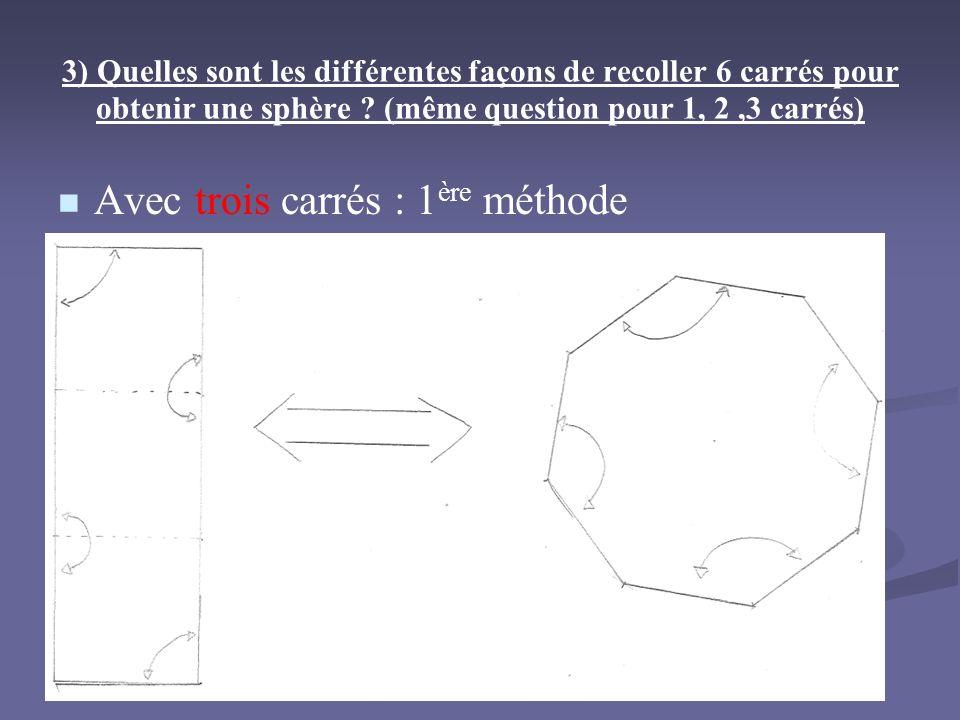 Avec trois carrés : 1ère méthode