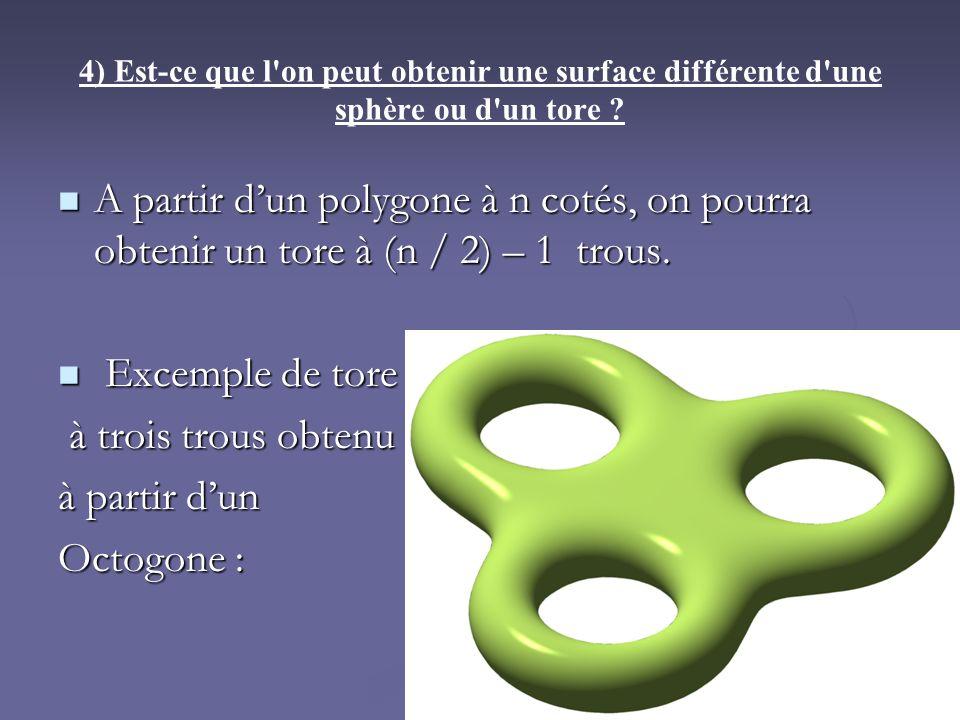 4) Est-ce que l on peut obtenir une surface différente d une sphère ou d un tore