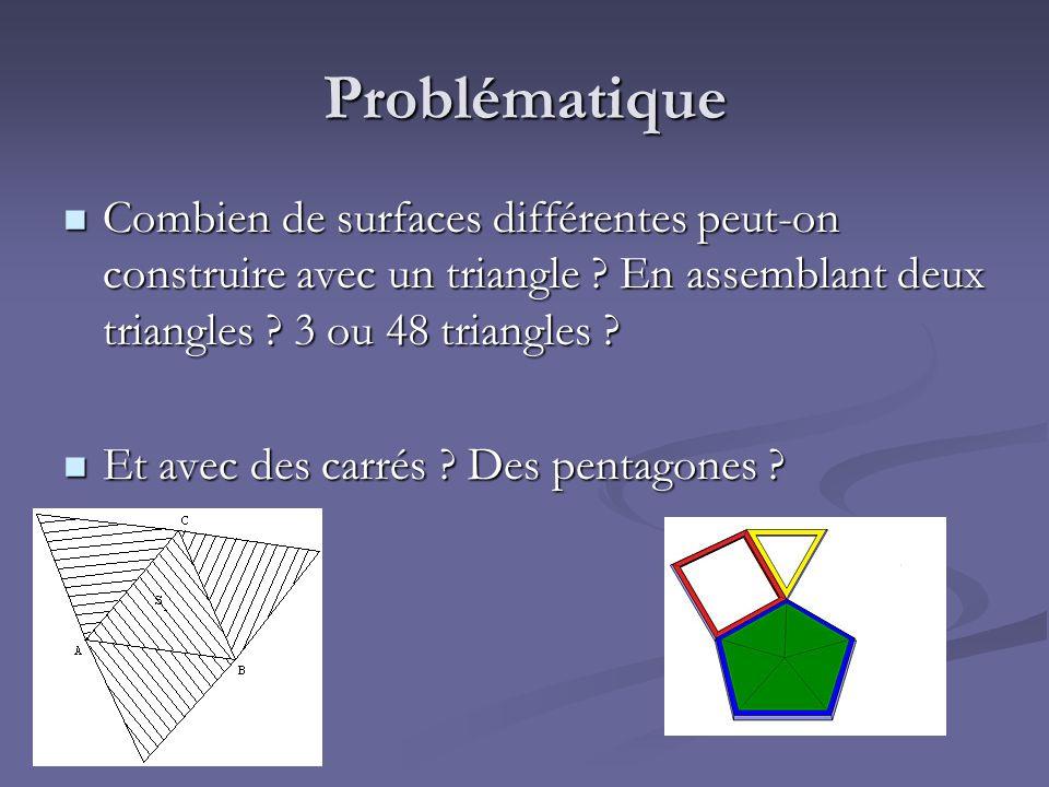 Problématique Combien de surfaces différentes peut-on construire avec un triangle En assemblant deux triangles 3 ou 48 triangles
