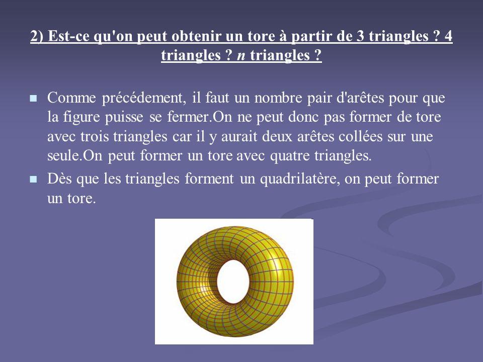 2) Est-ce qu on peut obtenir un tore à partir de 3 triangles