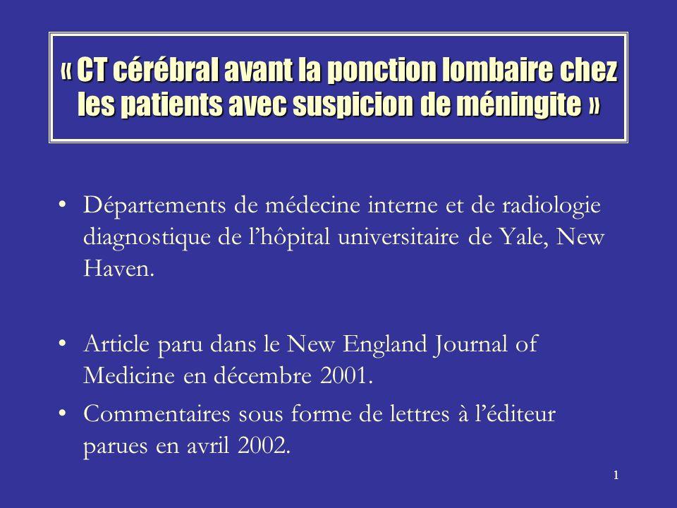 « CT cérébral avant la ponction lombaire chez les patients avec suspicion de méningite »