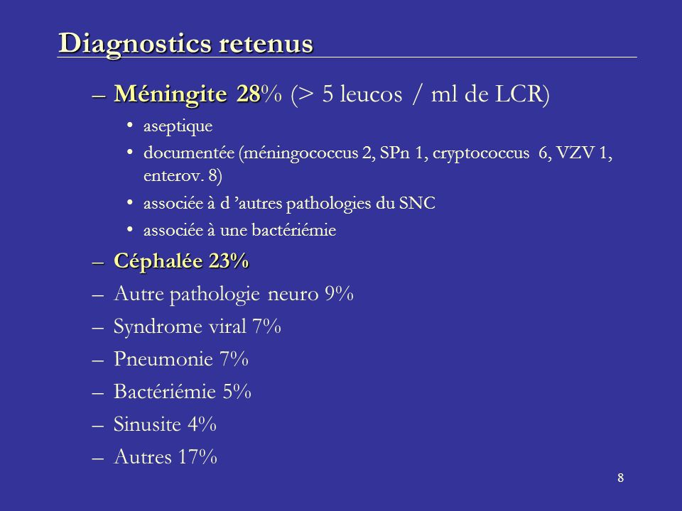 Diagnostics retenus Méningite 28% (> 5 leucos / ml de LCR)