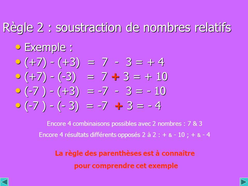 Règle 2 : soustraction de nombres relatifs