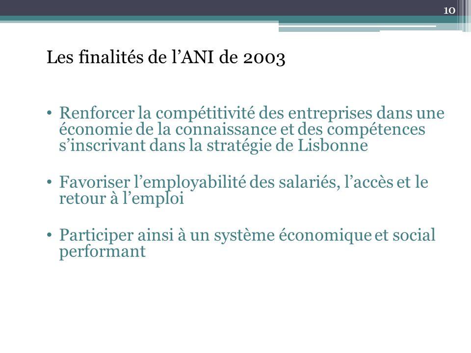 Les finalités de l'ANI de 2003