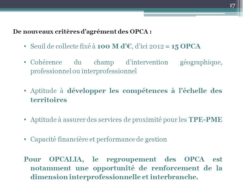 Seuil de collecte fixé à 100 M d'€, d'ici 2012 = 15 OPCA