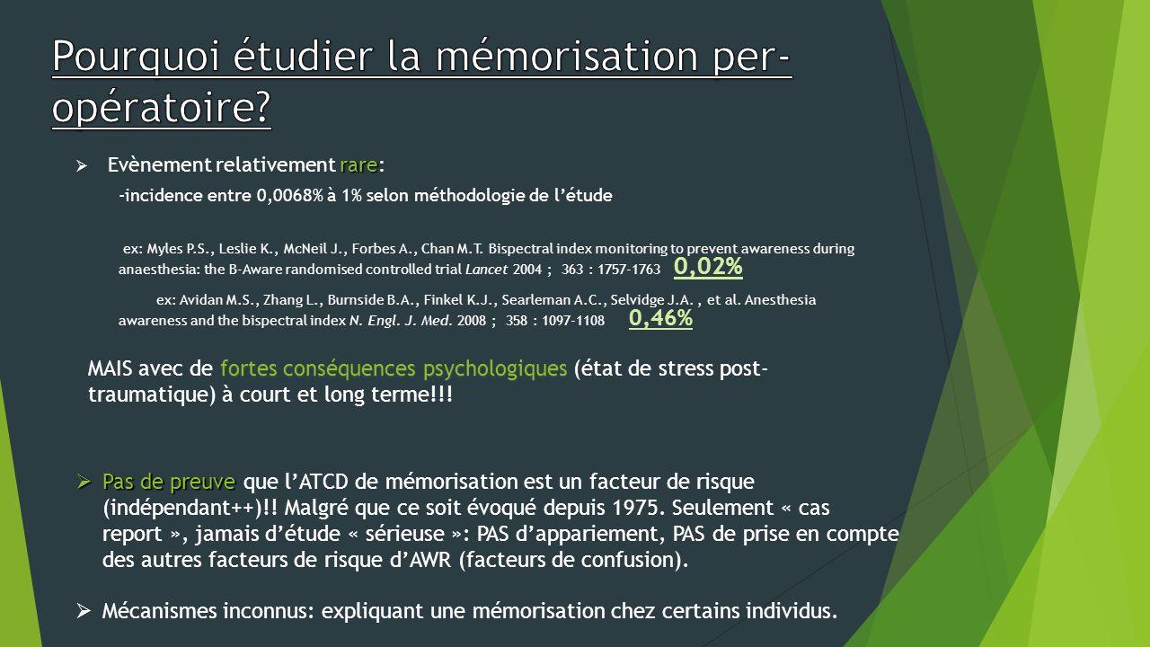 Pourquoi étudier la mémorisation per-opératoire