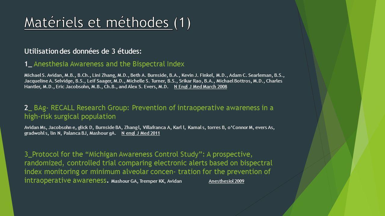 Matériels et méthodes (1)