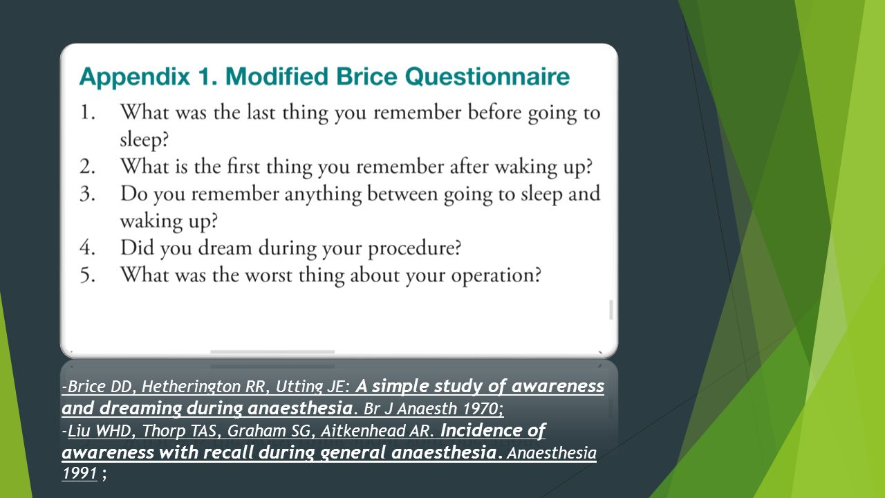 -Brice DD, Hetherington RR, Utting JE: A simple study of awareness and dreaming during anaesthesia. Br J Anaesth 1970;