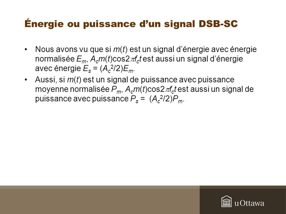 Énergie ou puissance d'un signal DSB-SC