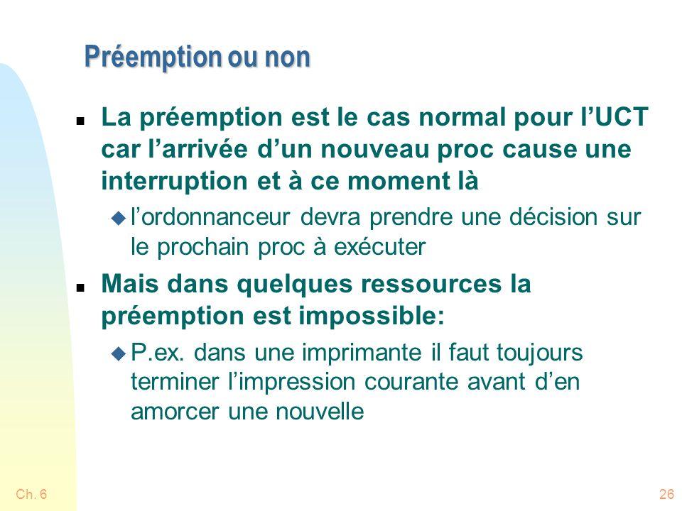 Préemption ou non La préemption est le cas normal pour l'UCT car l'arrivée d'un nouveau proc cause une interruption et à ce moment là.