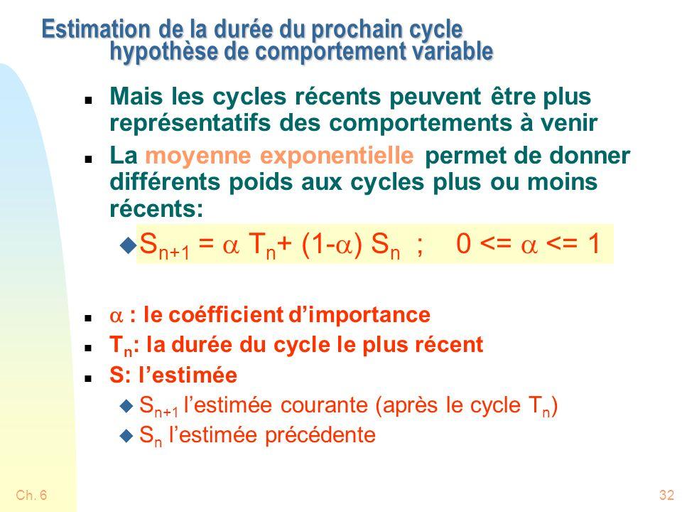 Sn+1 = a Tn+ (1-a) Sn ; 0 <= a <= 1